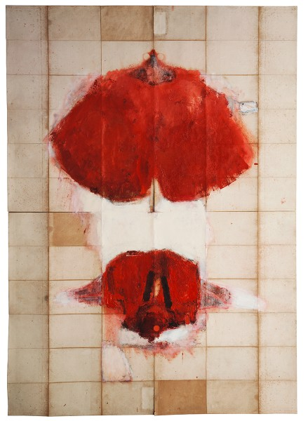 Mark Lammert - ALLIED, 1994-1996, oil on the back of a map, 216 x 152 cm