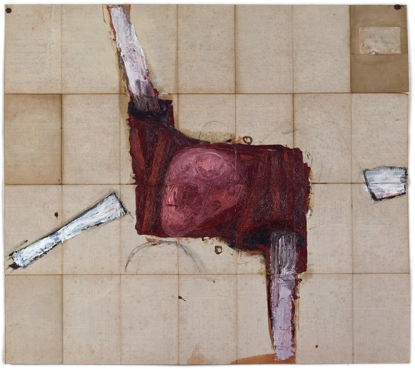 Mark Lammert - ALLIED, 1994-1996, oil on the back of a map, 74 x 83 cm